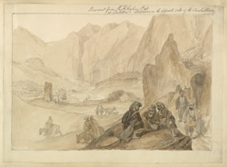 Descent from the Khyber Pass at Dukka, Lulpoora on the opposite side of the Caubul River